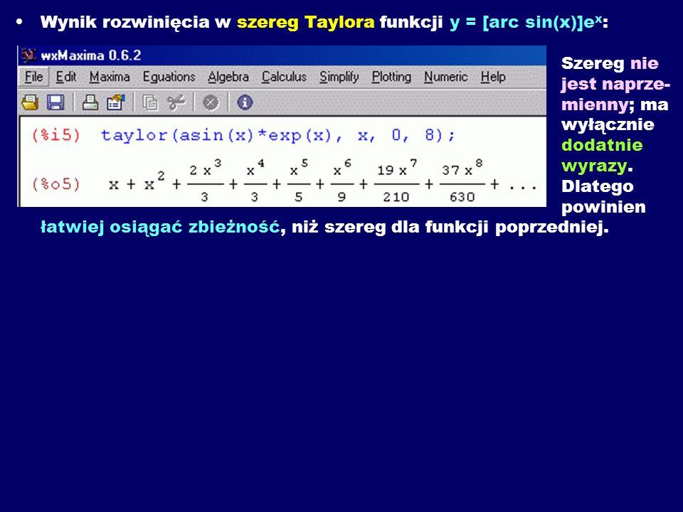 Wynik rozwinięcia w szereg Taylora funkcji y = [arc sin(x)]ex: